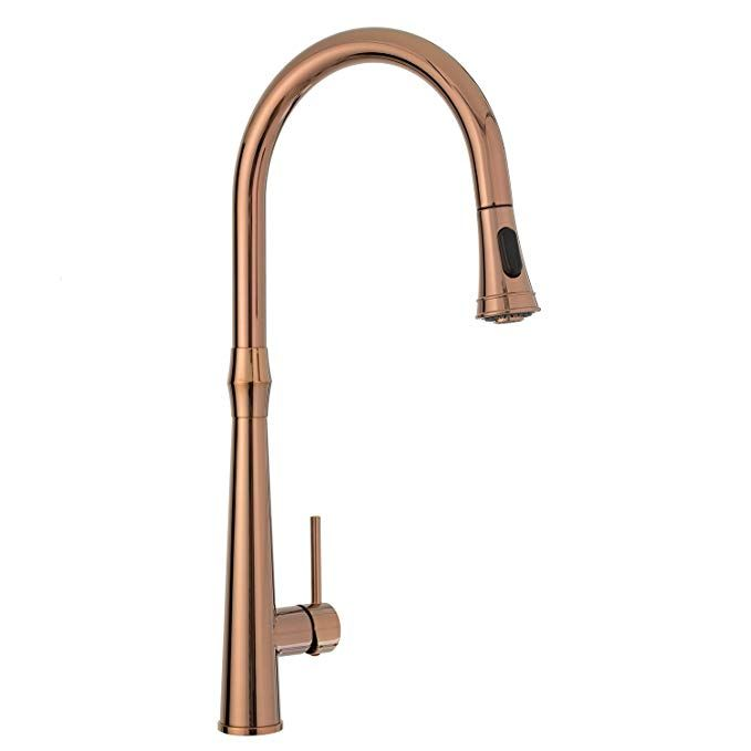 Kitchen Sink Faucet High Arc Rose Gold Single Handle Pull Down