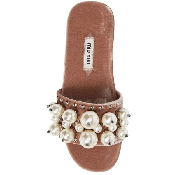 Women's Miu Miu Imitation Pearl Embellished Slide Sandal ($775) ❤ liked on Polyvore featuring shoes, sandals, slide sandals, embellished shoes, beaded sandals, embellished sandals and beaded shoes
