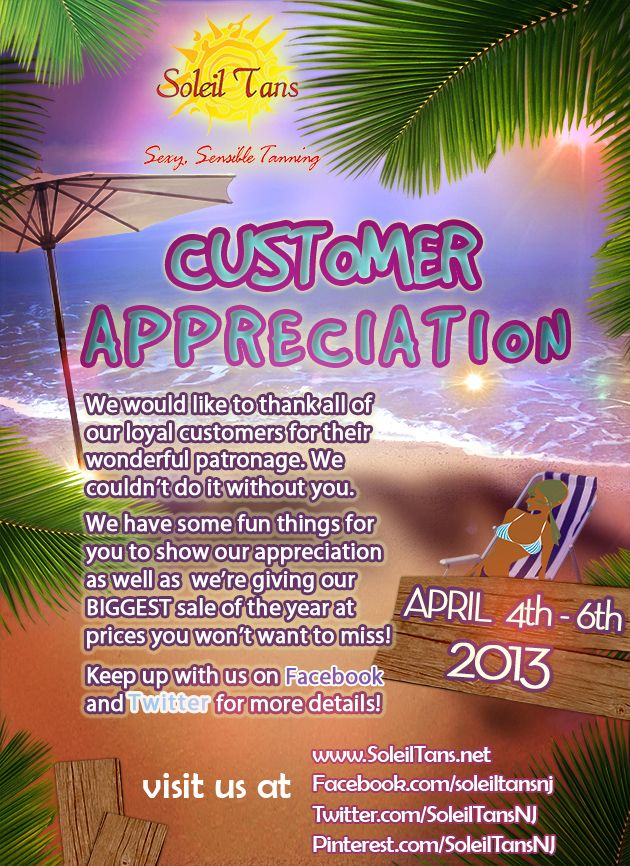 Soleil tans customer appreciation 2013 promotion new for Soleil tanning salon