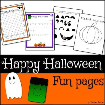 Whimsical, non-scary Halloween themed fun pages. Great for Halloween parties or early finishers. Includes a word search, cryptogram, and a create a jack-o-lantern craft. * * * * * * * * * *Fonts by The First Grade Scoop* * * * * * * * * *Check out these matching Happy Halloween resources!Happy Halloween Reading LogHappy Halloween Classroom Job LabelsWant more than one Autumn themed resource at a great price?Autumn BundleCopyright  Terbet Lane.