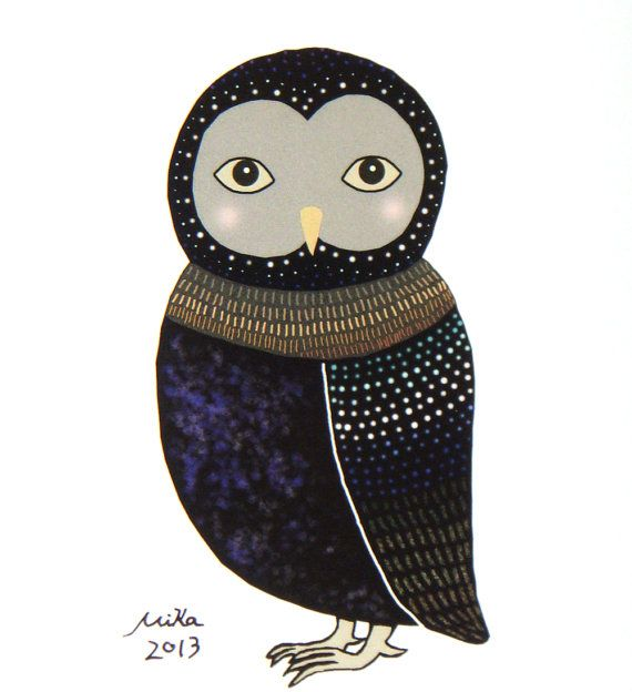 Owl Illustration Print Woodland Home Wall Decor Rustic by mikaart, $8.99