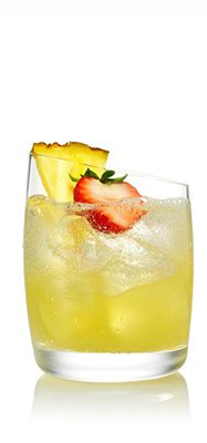 SVEDKA Ménage-A-Colada  Ingredients:  11/2 ounces SVEDKA Strawberry Colada 11/2 ounces pineapple juice Club soda Directions:  Pour SVEDKA Strawberry Colada and pineapple juice over ice into a rocks glass. Top with soda. Garnish with a wedge of pineapple.