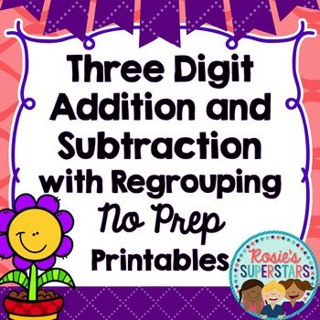 Three digit addition and subtraction practice is easy with these no prep printables. Over 30 fun and engaging no prep three digit addition and subtraction with regrouping printables are included. These worksheets are easy to use and the only required materials are paper, paper clips and crayons.