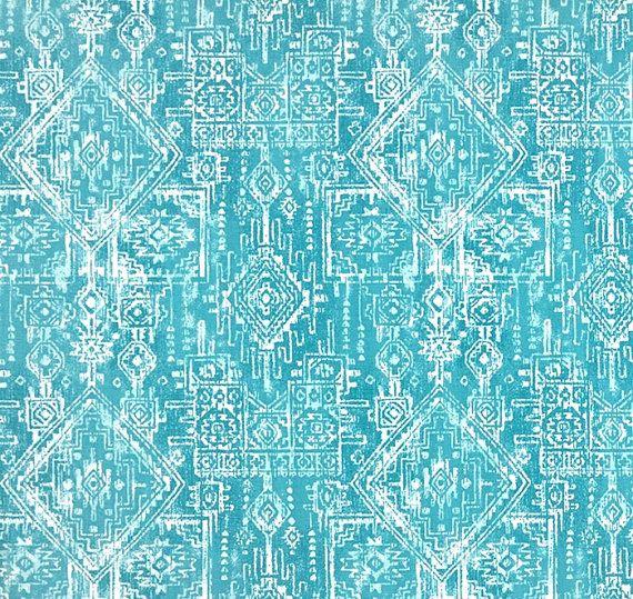 Southwest Aztec Turquoise Blue Fabric Designer Cotton Drapery Fabric Curtain Fabric Upholstery Fabric Tribal Blue Home Decor Fabric G398