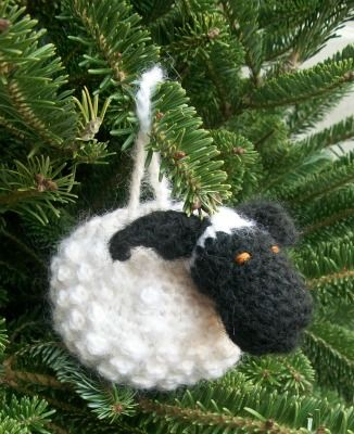 Chubby Sheep ornament on tree side view