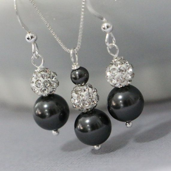 Sterling Silver Swarovski Black Pearl Necklace and Earring Set, Bridesmaid Necklace and Earring Set, Bridal Jewelry Set, Maid of Honor Gift