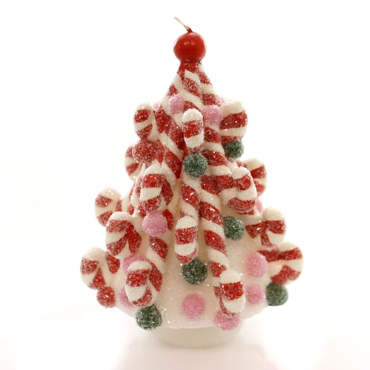 Candy cane tree candle christmas decor christmas for Candy cane holder candle centerpiece