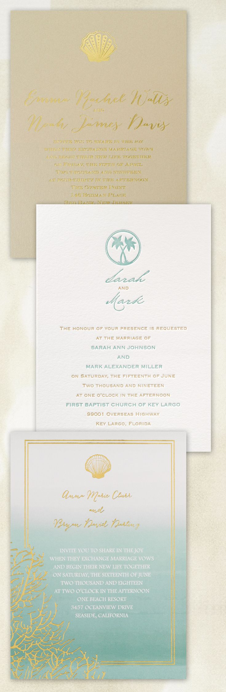 Set the tone for your beach themed wedding with coordinating wedding invitations featuring tropical palm trees, seashells and beach scenery  ||  @dawninvites
