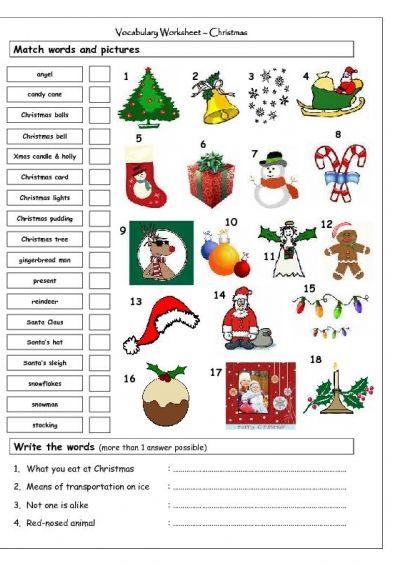 Vocabulary Matching Worksheet - Xmas #indigo #magicalholiday