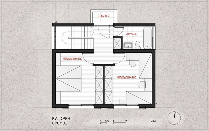 Standardised One-Family House Prototype 130 sqm, First Floor Plan - www.pzarch.gr