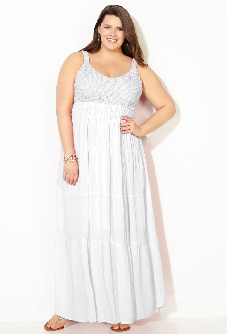White crochet maxi dress plus size dress avenue the for Plus size wedding dresses size 32 and up