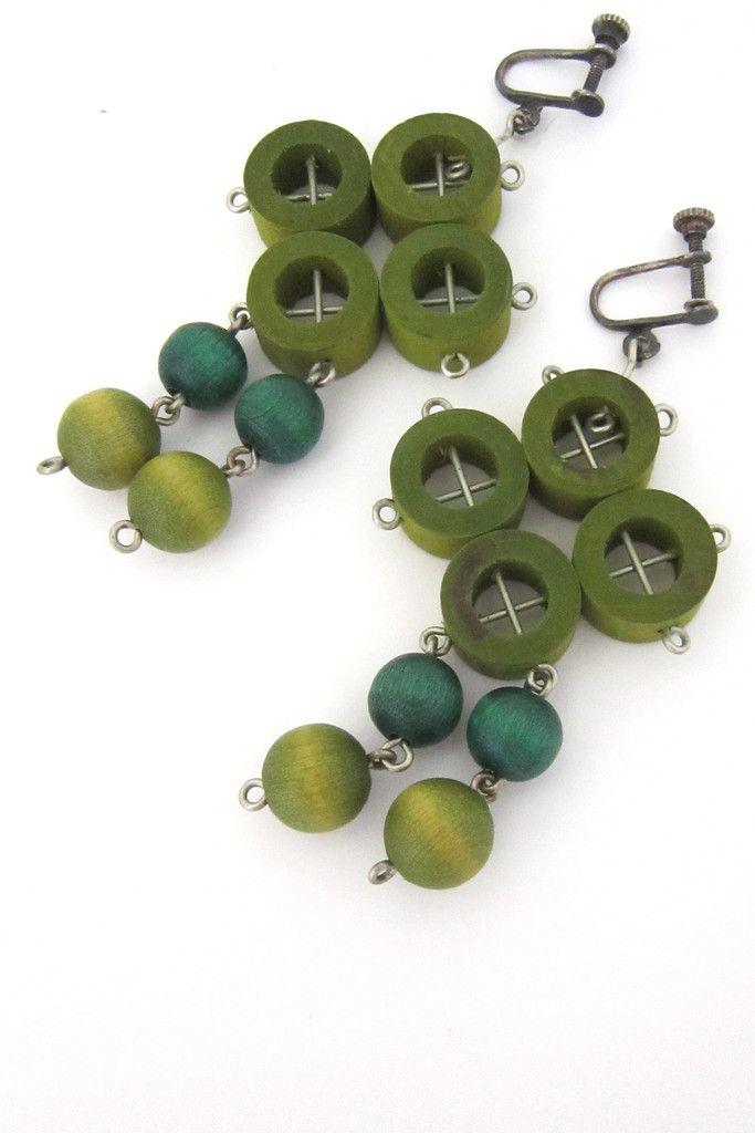 aarikka multi greens drop earrings #earrings #Finland