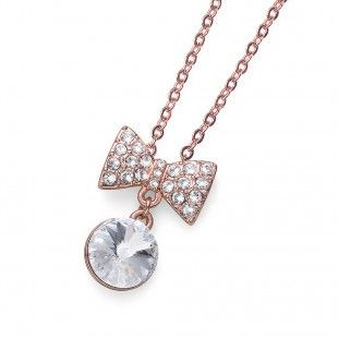Oliver Weber Women smart ribbon pendant necklace rosegold with Swarovski Crystals