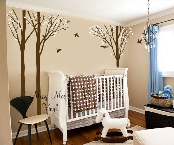 Vinyl Wall Decal Forest Tree Birch Set and Birds 101 inches tall Baby nursery decor on Etsy, $85.00