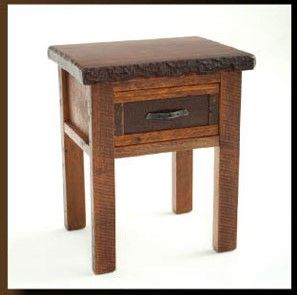 Forest Edge, nightstand with bark left intact on the live edge of this gorgeous reclaimed barnwood piece. Rustic Iron handle on the easy glide single drawer resembles an antique horseshoe is both durable and visually appealing! Paired perfectly with any barnwood bedroom set or mix and match to let your unique taste shine through!