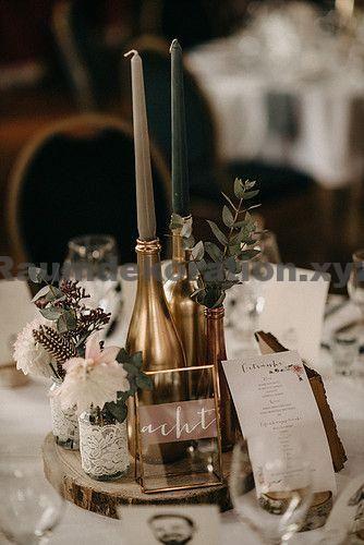 Tischdeko Hochzeit – Tischdekoration für eure Hochzeit mit Tischnummern, Kerzen und Eukalyptus. All