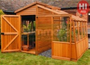 potting shed 99 is half a greenhouse and half a shed with tongued and grooved shiplap cladding