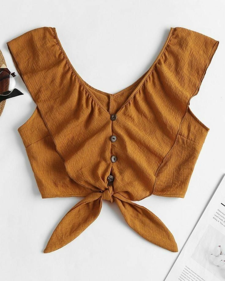 Details about  /Solid Side Button Trim Top Brown