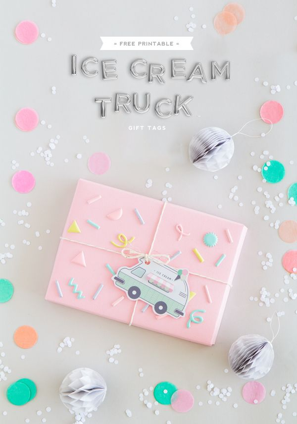 Ice cream season is getting close!! In anticipation, I designed this cute printable ice cream truck gift tag which includes a little interactive feature where you can lift the awning to reveal the rec