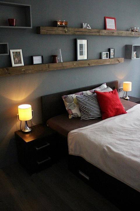 #grey #bedroom #nordic #reddecoration #beam