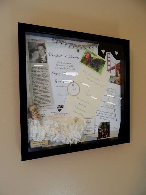 H Family Wedding Shadow Box. Taking mementos (announcement, copy of certificate, garter, necklace, cork, etc...) out of the storage box and displaying in master bedroom