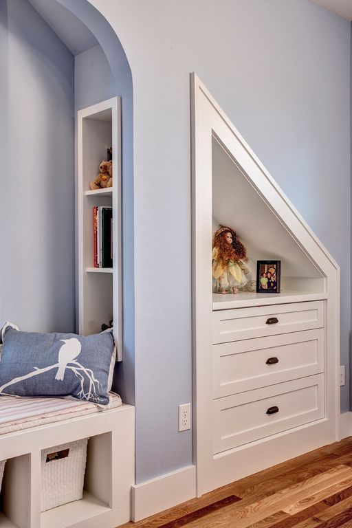 Craftsman Kids Bedroom with Built-in bookshelf, Navy Blue Bird on Cherry Blossom Pillow, High ceiling, Bunk beds
