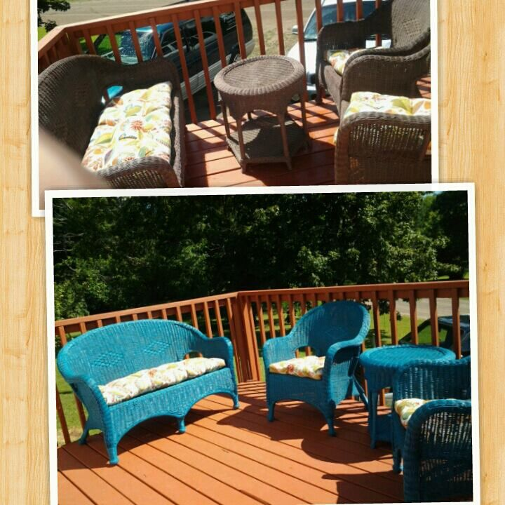 Spray painted wicker furniture my creations pinterest for How to paint rattan patio furniture