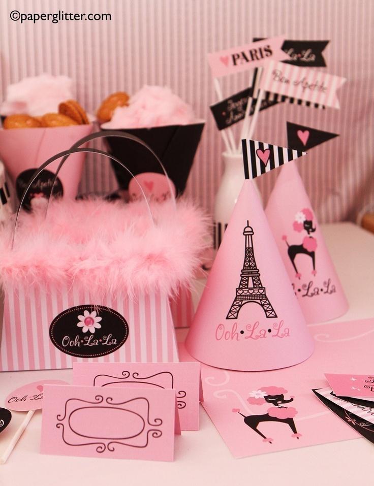 Paris Ooh La La Party Invitation and Kit, Printable Decoration Supplies for Birthday Girl - Printable Party Kit PDF Complete Set