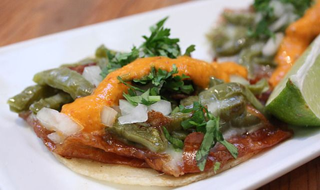 """This is my favorite taco at Mosto, our tequila bar in the Mission District. But it was inspired by El Califa's nopales and cheese taco in Mexico City. What makes it even better is a good amount of Mosto's """"orange sauce"""" salsa and here's the recipe. http://makeitlikeachef.com/2014/07/02/the-secret-to-tacolicious-legendary-orange-sauce/"""