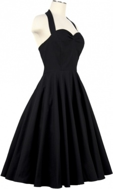 Callista dress in luxe black. Halter straps that are button-adjustable, sweetheart neckline with bust gathering, 100% cotton, made in the USA. Priced at $132.00, can be ordered through our website http://www.vintagemeup.com. Ships in 2-3 business days. US and international shipping available.
