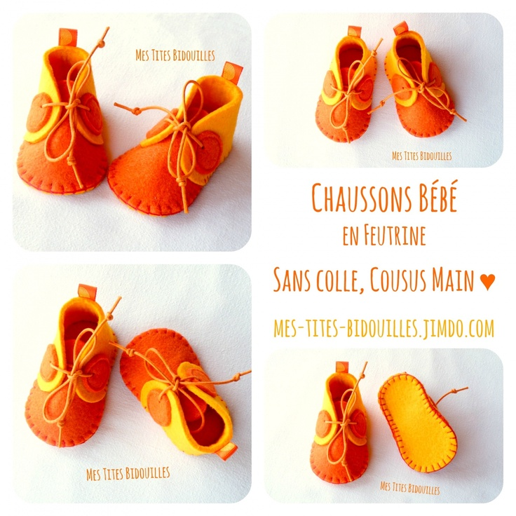 cadeau naissance chaussons b b feutrine jaune et orange b b et orange. Black Bedroom Furniture Sets. Home Design Ideas