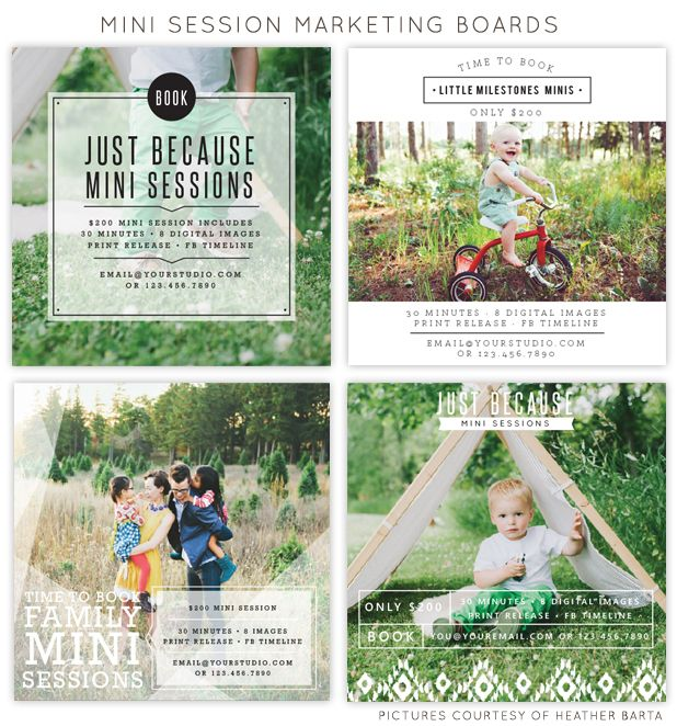 Square mini session marketing boards for photographers - easy photoshop templates