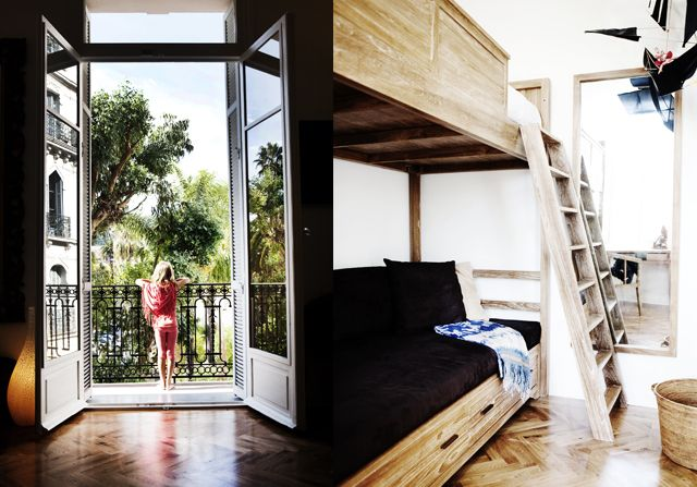 Villa's bedroom with bunk beds and view from a terrace