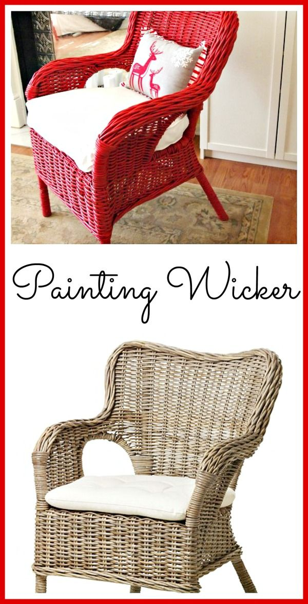 Got rid of my wicker. Should have just repainted.  you get bored with a piece and need an easy and inexpensive change! Gray Ikea wicker chair painted red. Great tips for how to paint wicker furniture.