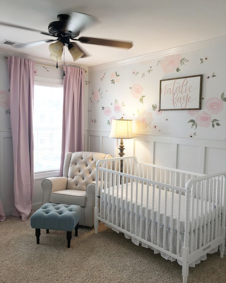 Baby girl nursery. Floral walls. Floral nursery. Pink curtains. Jenny Lind crib. Nursery glider. Nursery rocker. trendy family must haves for the entire family ready to ship! Free shipping over $50. Top brands and stylish products