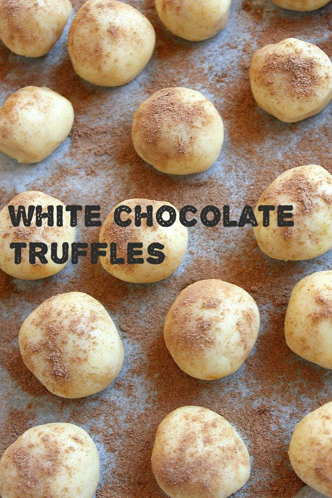 These easy white chocolate truffles make great Christmas presents!