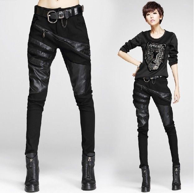 new fashion spring autumn winter cotton faux leather pu black plus size casual trousers formal women harem pants 2016