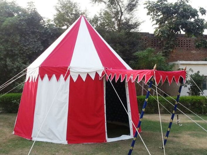 A Red & White Grand Round Pavilion #medievaltents #pasttents #historytents #medievalpavilions #medieval
