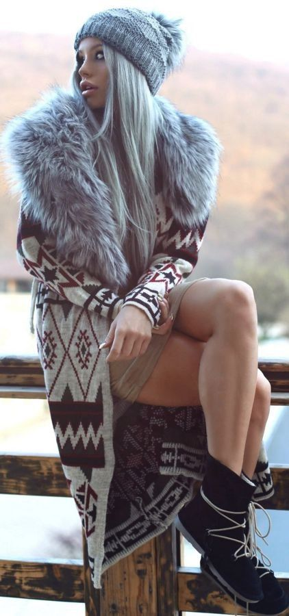 Faux Fur Collar Ethnic Pattern Long Cozy Cardigan, Beige Ribbed Dress, Black Lace up UGG Boots | Cozy Winter Street Style | Carmen Grebenisan