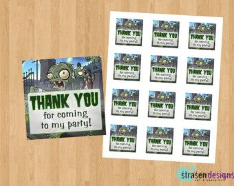 Plants vs Zombies Thank You Tag - Instant Download Printable DIY