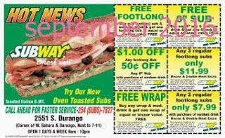 Free Printable Coupons: Subway Coupons