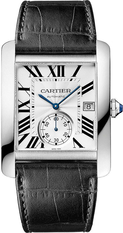 Cartier Tank MC Stainless Steel and Leather Watch - for Men on shopstyle.com