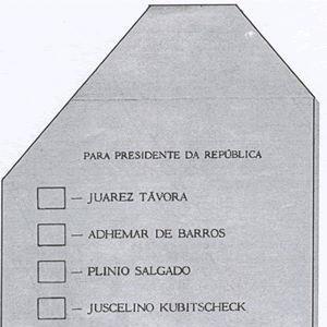 Primeira cédula oficial utilizada no Brasil. Eleições para presidente, 1955.    A eleição presidencial brasileira de 1955 foi a décima-sexta eleição presidencial e a décima-quarta direta.    Fonte: TSE