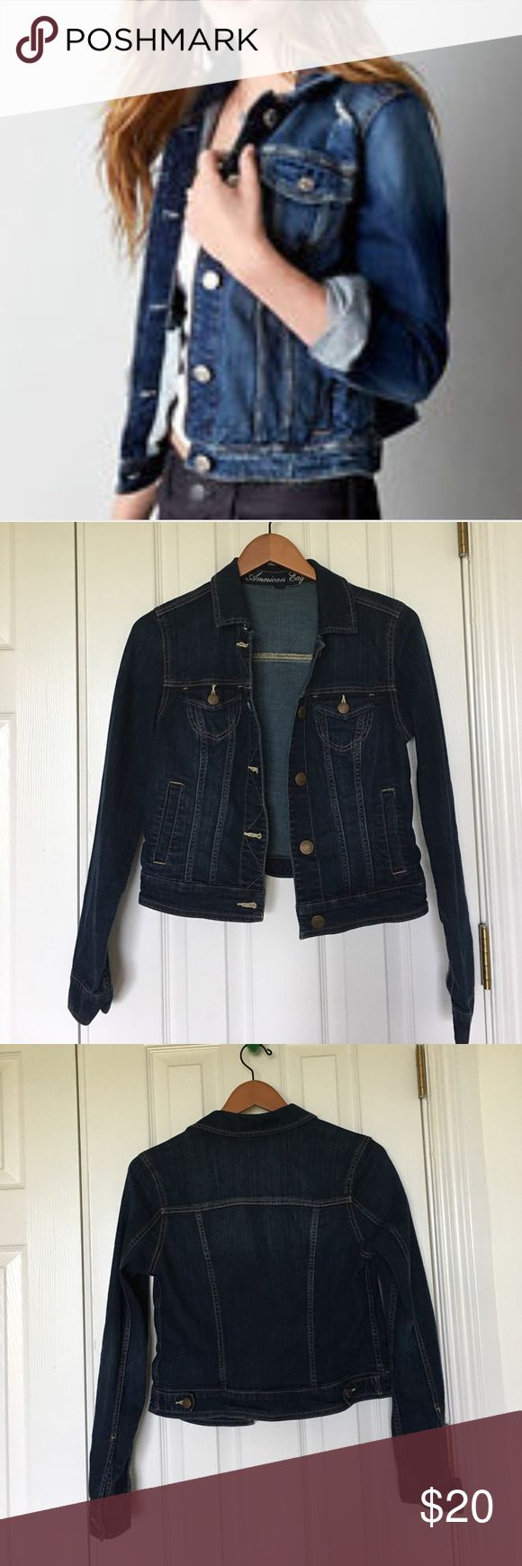 American Eagle Stretch Denim Jacket Size medium, dark wash American Eagle stretch denim jacket. No signs of visible wear. Excellent addition to every wardrobe! Toss this adorable jacket over your shoulder with a tank top and a BoHo skirt or wear it over your favorite dress for the office. As the temperatures get colder layer under a leather bomber jacket. American Eagle Outfitters Jackets & Coats Jean Jackets