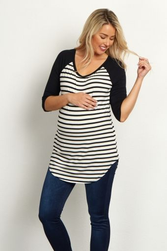 Royal Striped Colorblock Sleeve Maternity Top