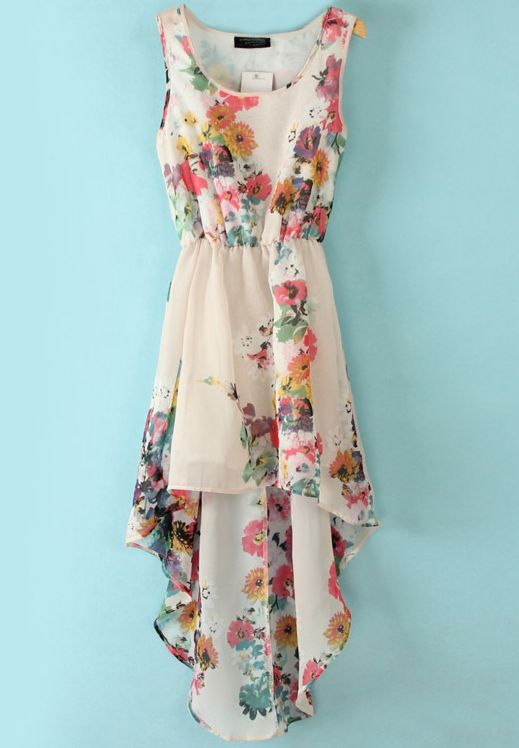 White Floral High Low Dress - Sheinside.com