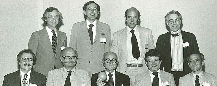 1978  Photo: Squire Haskins, Dallas, TX ©1978    Top row from left:Michael Graves, Cesar Pelli, Charles Gwathmey, Peter Eisenman. Bottom row from left: Frank Gehry, Charles Moore, Philip Johnson, Stanley Tigerman, Robert A.M. Stern