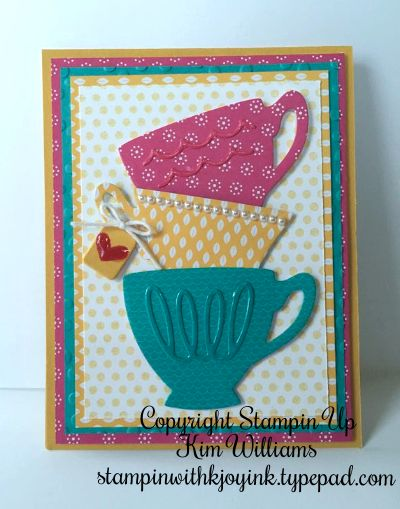 Stampin Up, A Nice Cuppa stamp set in the Occasions Catalog 2016. I love the bright colors of this card and the fun details made with the Cups and Kettle dies. The tea tag idea is so cute and I love the patterns in the designer paper. Melon mambo, Bermuda bay and crushed curry. IMG_5826