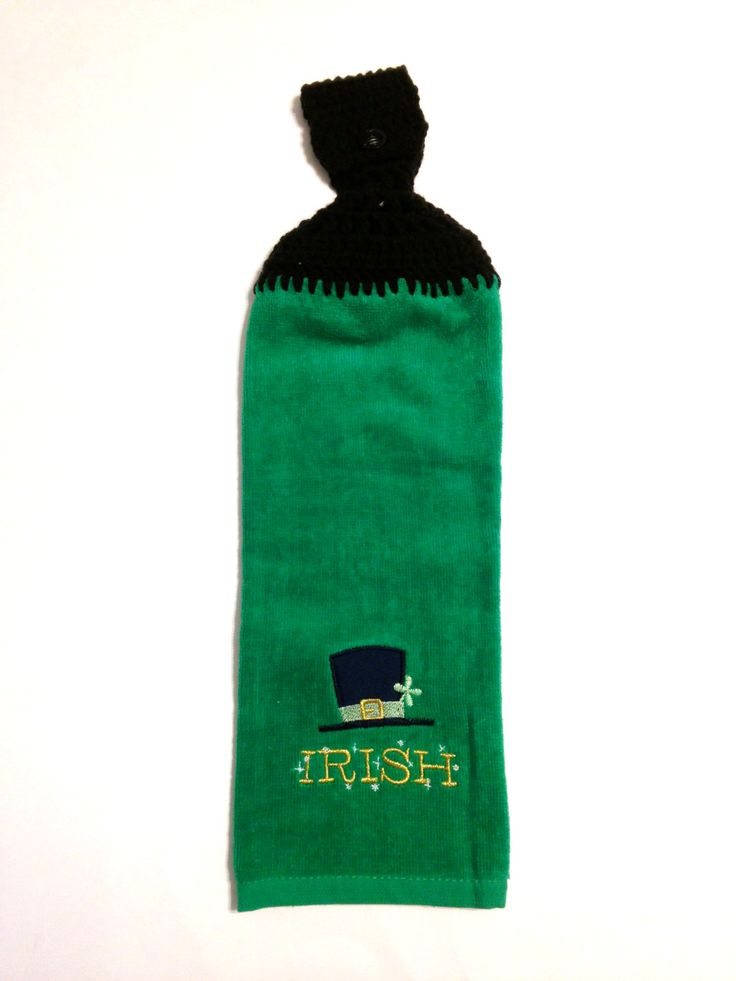 Irish Hat Green Hand Towel With Green Crocheted Top by MeAndMomsCrafts on Etsy