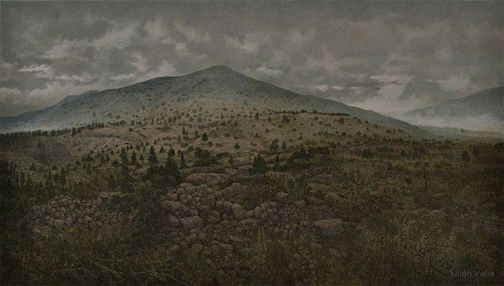 Landscape_pintura de paisaje. In darkness let me dwell.12.09 Le Tombeau de John Dowland Julián Valle 2012 Óleo s.tela 90 x 160 x 3 cm